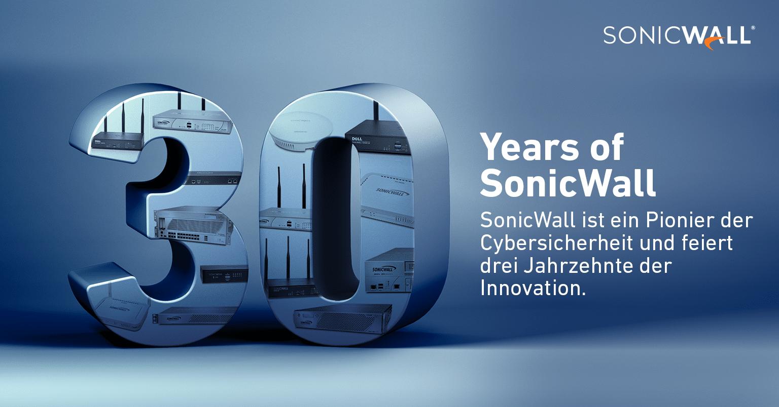SonicWall wird 30: Pionier in der Cybersicherheit feiert drei Jahrzehnte der Innovation